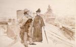 Ilya Repin - Ksenia ja Nedrov Pietarin taideakatemian katolla keskustelemassa taiteesta